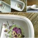 Antique Porcelain Soap Bar Dish or Toothbrush Holder White Floral Ironstone Farmhouse Bath Decor Country Cottage Chic Bathroom Transferware