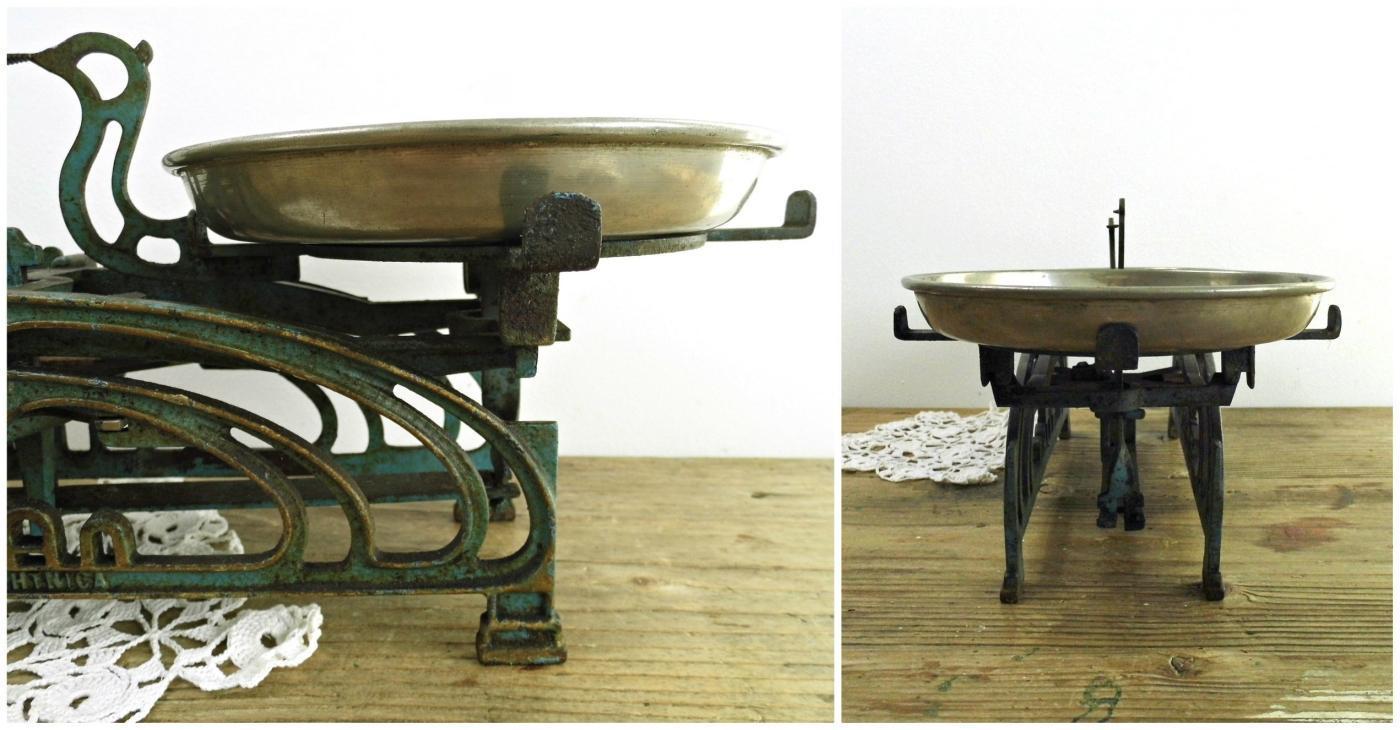 Antique Kitchen Scale Blue Green Vintage Metal Market Balance Scale Brass Trays Cast Iron Counter Rustic Farmhouse Kitchen Industrial Decor