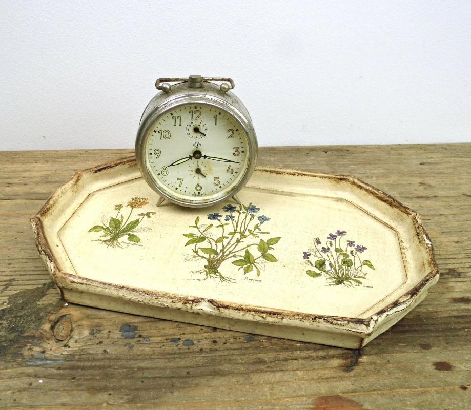 Vintage Italian Florentine Tray Wood Vanity Trinket Medicinal Herbs Beige Dresser Jewelry Tray Scallops Serving Platter Shabby Cottage Chic