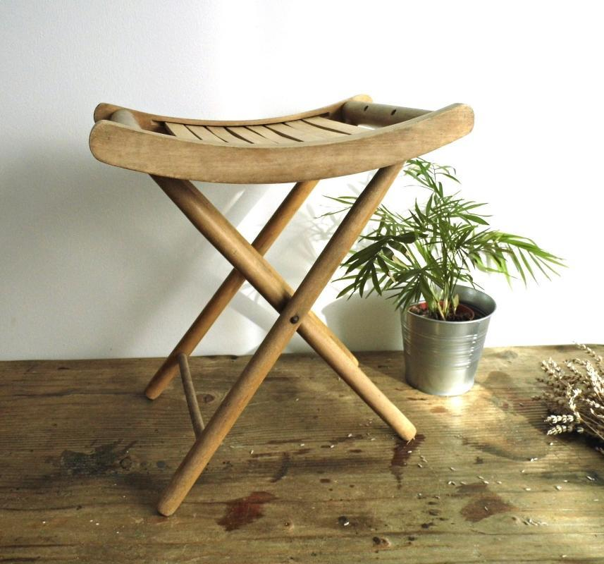 Vintage Folding Foot Stool Chair Wood Patio Slatted Seat Footstool Small  Wooden Side Coffee Table Child