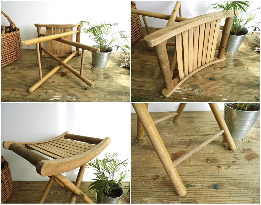Amazing Vintage Folding Foot Stool Chair Wood Patio Slatted Seat Footstool Small  Wooden Side Coffee Table Child
