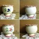 Antique French Pedestal Jardiniere Bowl Hand Painted Floral Planter Vase Flower Pot w/ Scallops Pottery Glazed Stoneware Shabby Cottage Chic
