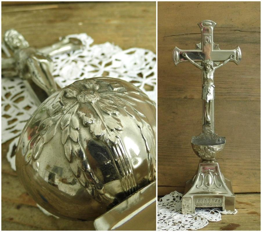 Antique Altar Crucifix Standing Cross Large Metal Jesus Christ Holy Water Font Ornate Silver Tone Vintage Christian Religious Home Shrine