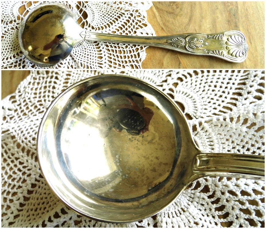 Antique Silver Plated Ladle Italian Soup Punch Ladle Soup Spoon Vintage Large Sauce Serving Gravy Ladle Ornate Flatware Silverware Tableware