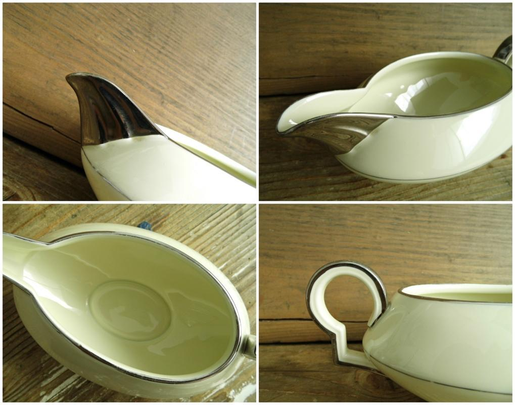 Antique Art Deco Gravy Sauce Boat Bowl Server Beige Silver Trim China Dining Transferware Art Nouveau H&C Haas Czjzek Bohemia Czechoslovakia
