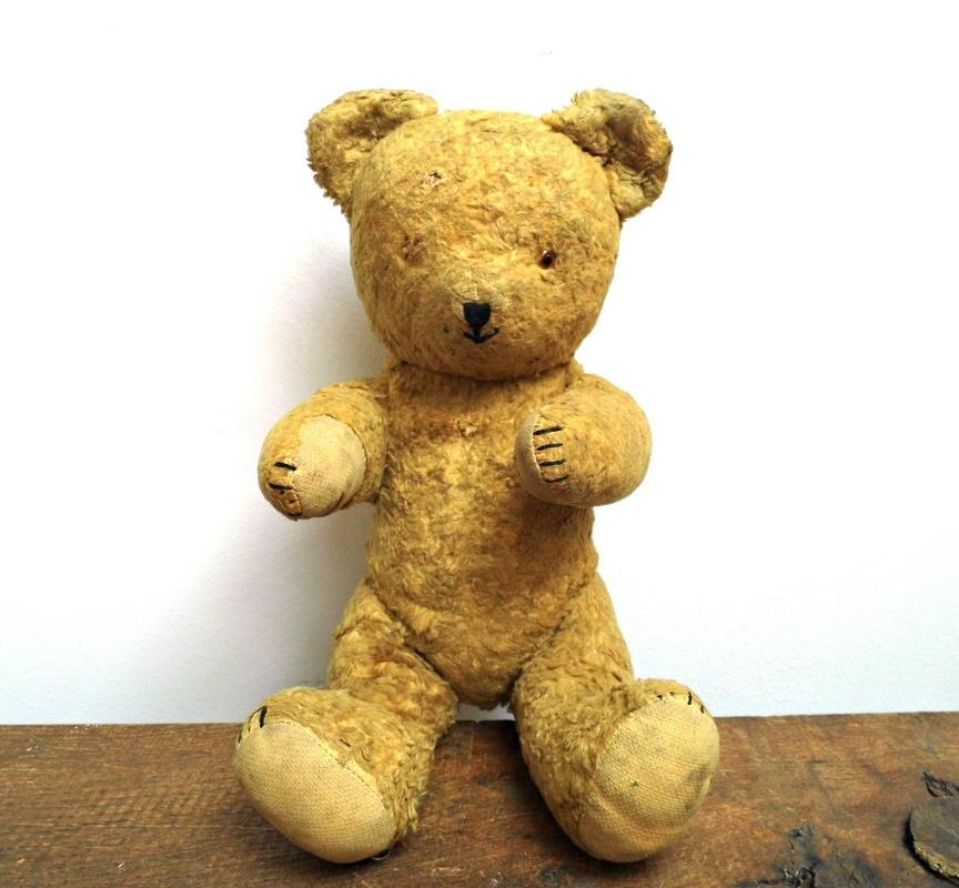 Antique Teddy Bear Mohair Vintage German Plush Toy Stuffed Animal Handmade Jointed Collectible Teddy Kid Toy Brown Rustic Nursery Room Décor