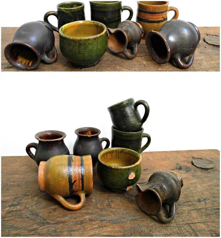Set 7 Antique French Pottery Mug Glazed Vintage Small Pot Old Earthenware Rustic Stoneware Terra Cotta Ceramic Majolica Pitcher Terracotta