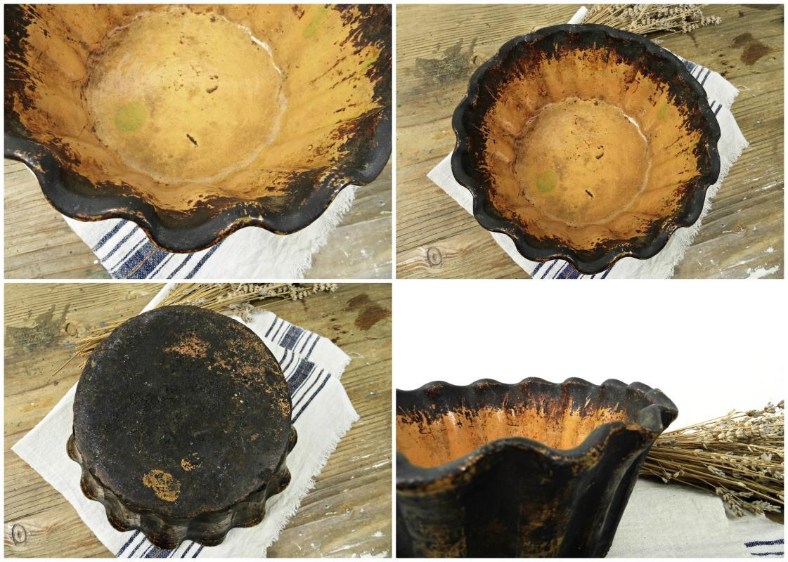 Antique French Pottery Cake Pan Mold Tube Vintage Clay Baking Pan Pudding Form Kugelhopf Jelly Bowl Round Bundt Rustic Country Kitchen Decor