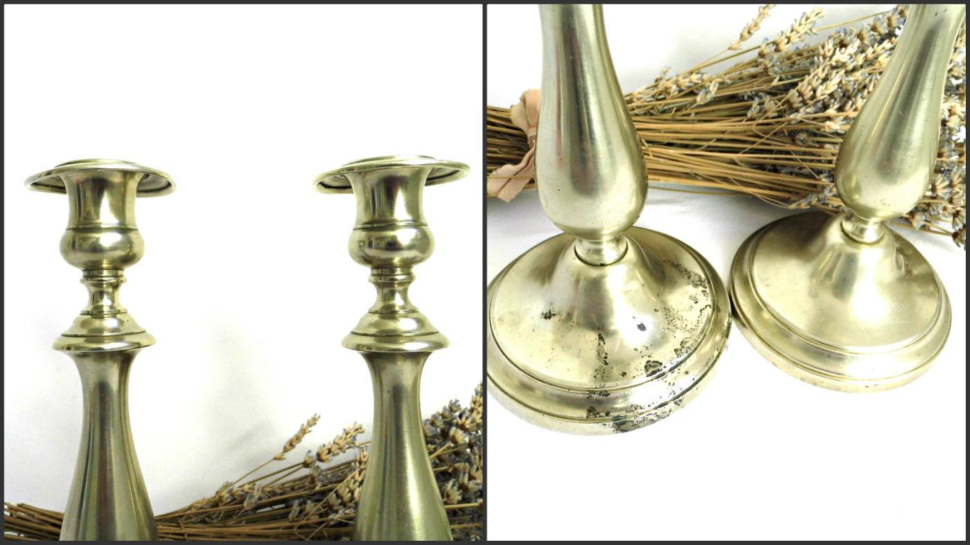 1870s Antique BMF Candlestick Holder Set 2 Berndorf Metalware Factory Vintage Metal Candle Holder Alpaca Nickel Silver Plated Collectibles