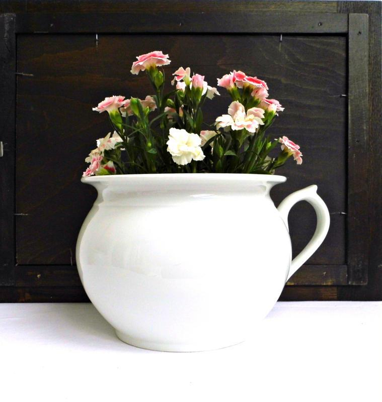 Antique Chamber Pot Porcelain Vintage H&C Bohemia Czech White Flower Pot Handle Planter French Farmhouse Shabby Cottage Decor Vase Ironstone