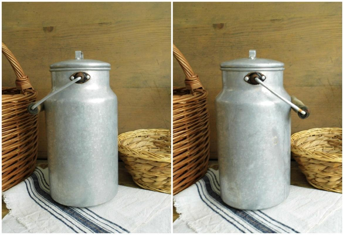 Vintage Aluminum Milk Can Lid Wooden Handle Milk Pail Container Silver Rustic Milk Canister Metal Bucket Enamelware Farmhouse Kitchen Decor