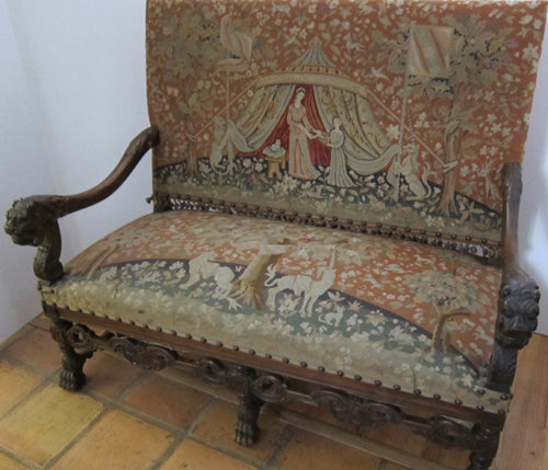 Salon Set (2 settee, 2 armchairs, 2 side chairs) based on the Lady with the Unicorn