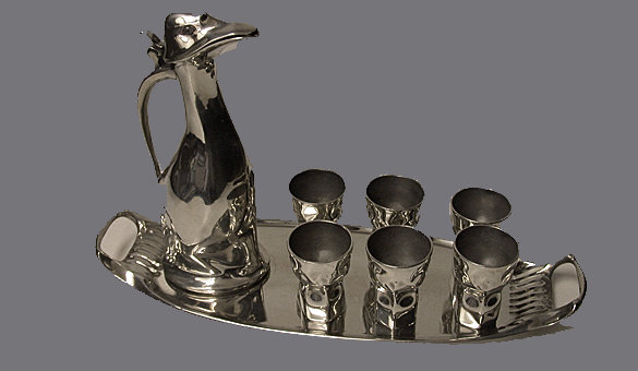 Kayserzinn Hugo Levin Art Nouveau Pewter Penguin Decanter Set, Germany C.1900