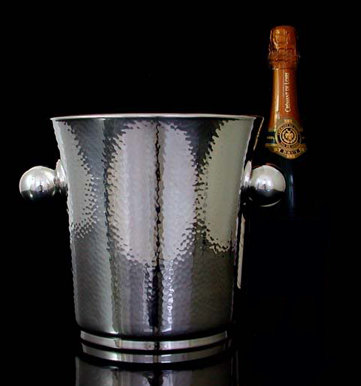 Art Deco Modernist Silver Plate hammered Wine Cooler, Germany C.1935, Quist