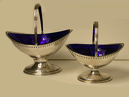Hester Bateman pair of Georgian Silver Baskets, London 1788