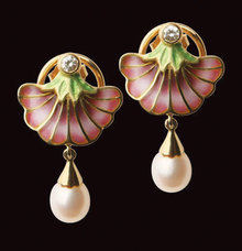 18K Enamel and Diamond drop Earrings