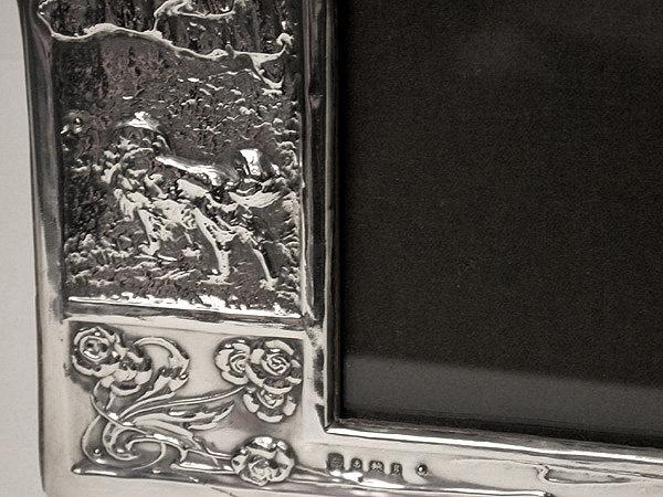 Art Nouveau English Silver Photograph Frame, Birmingham 1906, James Deakin.