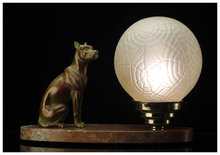 French Art Deco spelter Dog and Marble Table Desk Lamp, C.1920.