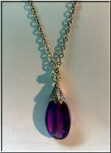 Antique Amethyst and Diamond Pendant necklace, English C.1900.