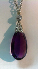 Antique Amethyst and Diamond Pendant necklace, English C.1900.