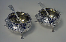 Pair of Antique Victorian large open salts with salt spoons, London 1855, W.R. Smily.