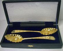 Scottish Georgian silver gilt Berry Spoons, Edinburgh 1799