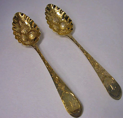 Scottish Georgian silver gilt Berry Spoons, Edinburgh 1799