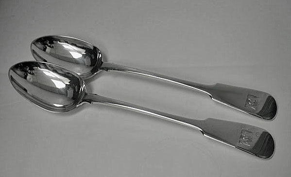Exeter Silver Serving Spoons, Exeter 1841, Thos Byne