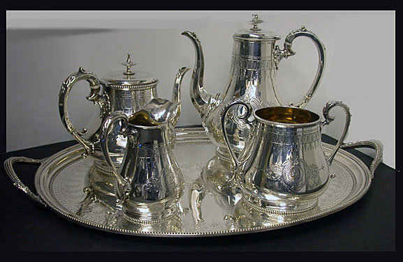 Tea & Coffee Service & Tray Brightcut  1848-78