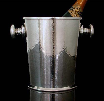 Art Deco Modernist Silver Plate hammered Wine Cooler, Germany C.1935, by Juwel