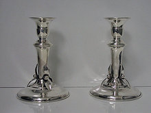 Carl Poul Petersen Sterling Candlesticks, Montreal C.1950.