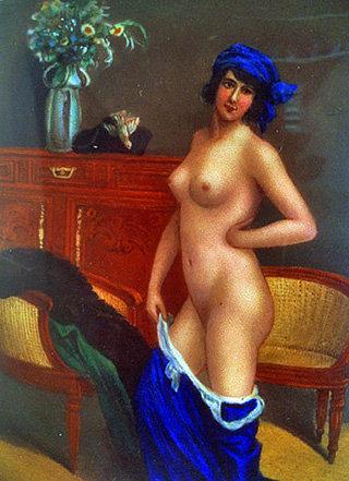 Erotic Nude enamel silver box, C.1920