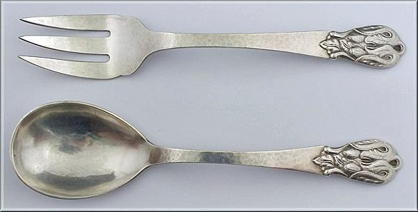 Carl Poul Petersen hammered Silver Salad Servers, Montreal. C.1930.