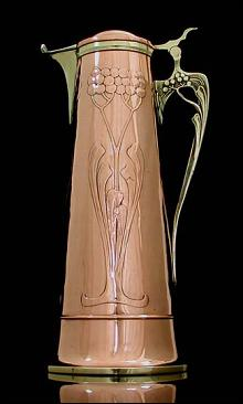 Art Nouveau Copper and Brass Wine Jug, Germany C 1905.