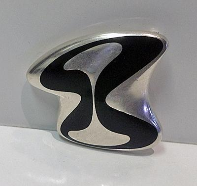 Georg Jensen Henning Koppel abstract enamel sterling Brooch Denmark, C.1969