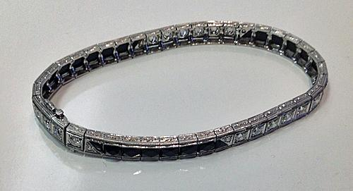 Art Deco Bracelet Platinum Diamond Onyx C.1920.