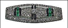 Art Deco Brooch Platinum Diamond Emerald Onyx France C.1920.