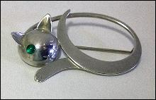 Georg Jensen Sterling reclining Cat Brooch, JoPol  C.1945