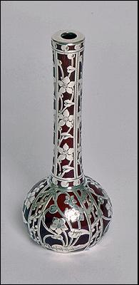Fine American Art Nouveau Silver overlay rare red glass Vase, C.1900
