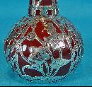 Fine American Art Nouveau Silver overlay rare red glass Vase, C.1900