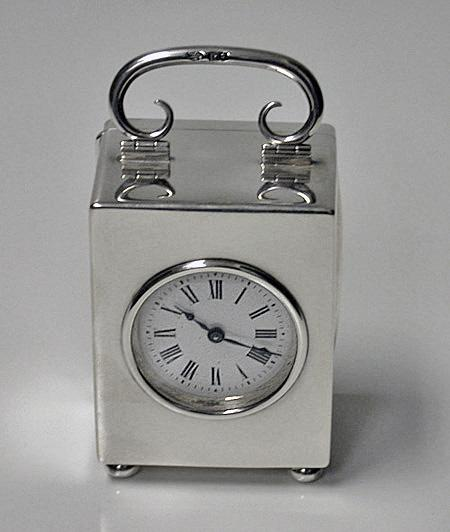 Antique Silver Carriage Clock, London 1913, Goldsmiths and Silversmiths Co