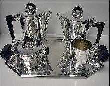 Art Deco Silver Plate Tea and Coffee Service, France C.1930.