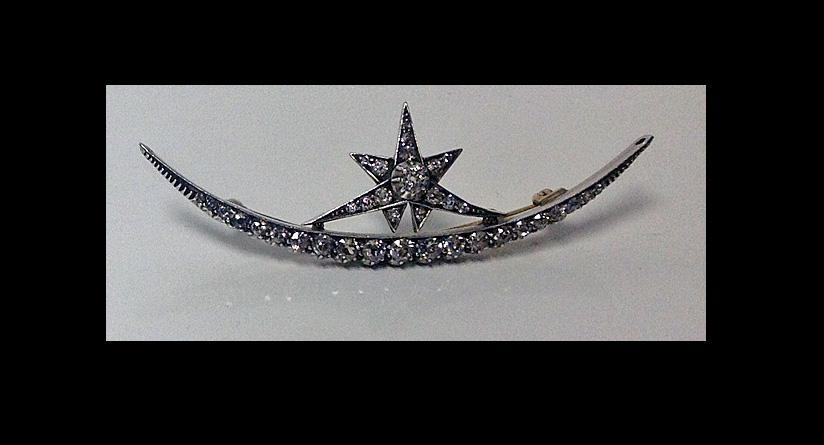 Antique Diamond Crescent Brooch , English C.1880