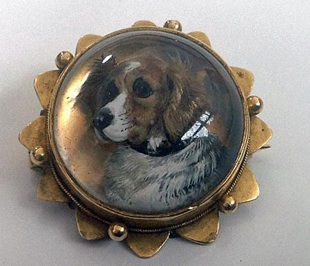 Spaniel Dog Reverse Intaglio Crystal Brooch
