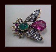 Suffragette colours Bee Brooch Diamond Gem Set C.1910