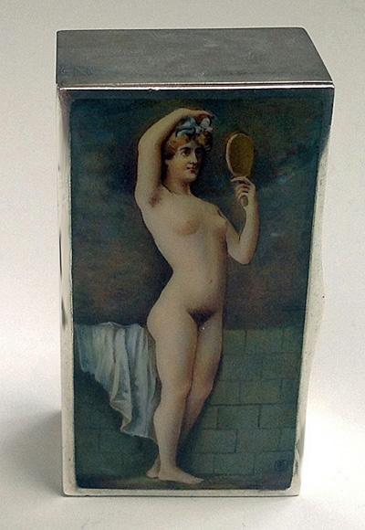 Fine Erotic Enamel Silver Box