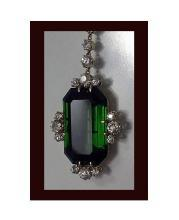 Fine Green Tourmaline and Diamond Pendant Necklace, 20th century