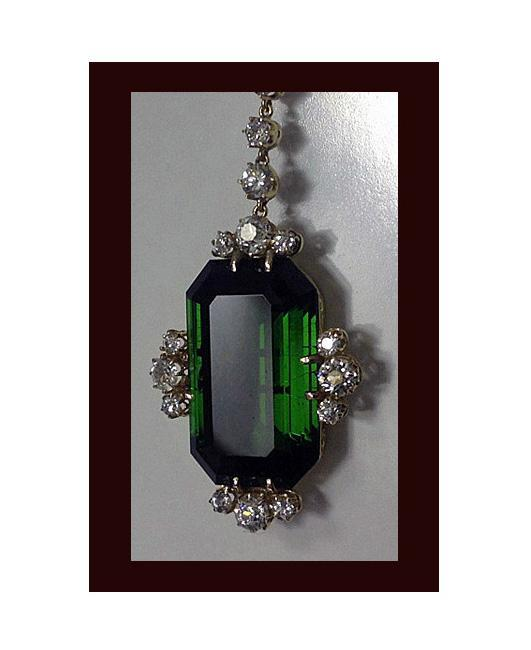 Fine Green Tourmaline and Diamond Pendant Necklace, 20th century