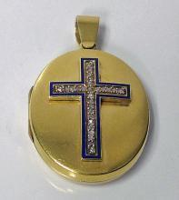 Antique Locket Cross, 18K Enamel and Diamond, English, C.1875