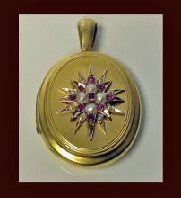 Antique Locket, 18K Ruby and Pearl, English, C.1875.